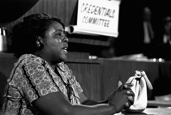Mrs. Fannie Lou Hamer speaks before the Credentials Committee of the Democratic National Convention in Atlantic City, 8/22/1964; AP.