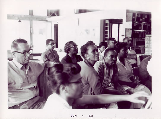 Ella Baker, center, at the Highlander Center.