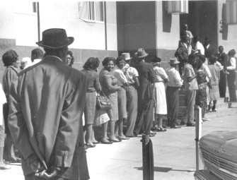 """Freedom Day"" in Selma, October 1963. A long line at the courthouse to apply to register to vote. Image: © John Kouns."
