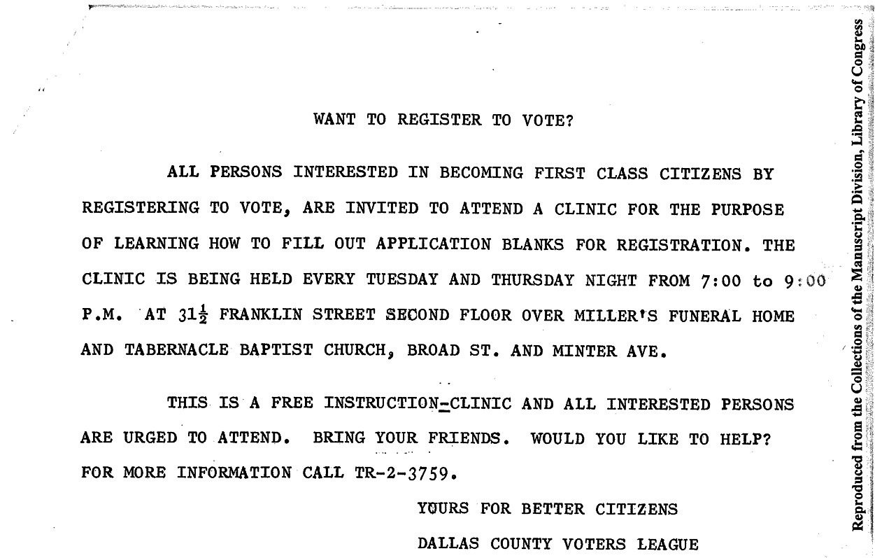"""""""Want to register to vote?"""" DCVL flier. (Click image to read.) From James Forman papers at the Library of Congress."""