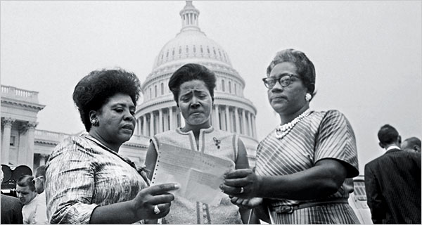 From left: Fannie Lou Hamer, Victoria Jackson Gray and Annie Devine in Washington in 1965.