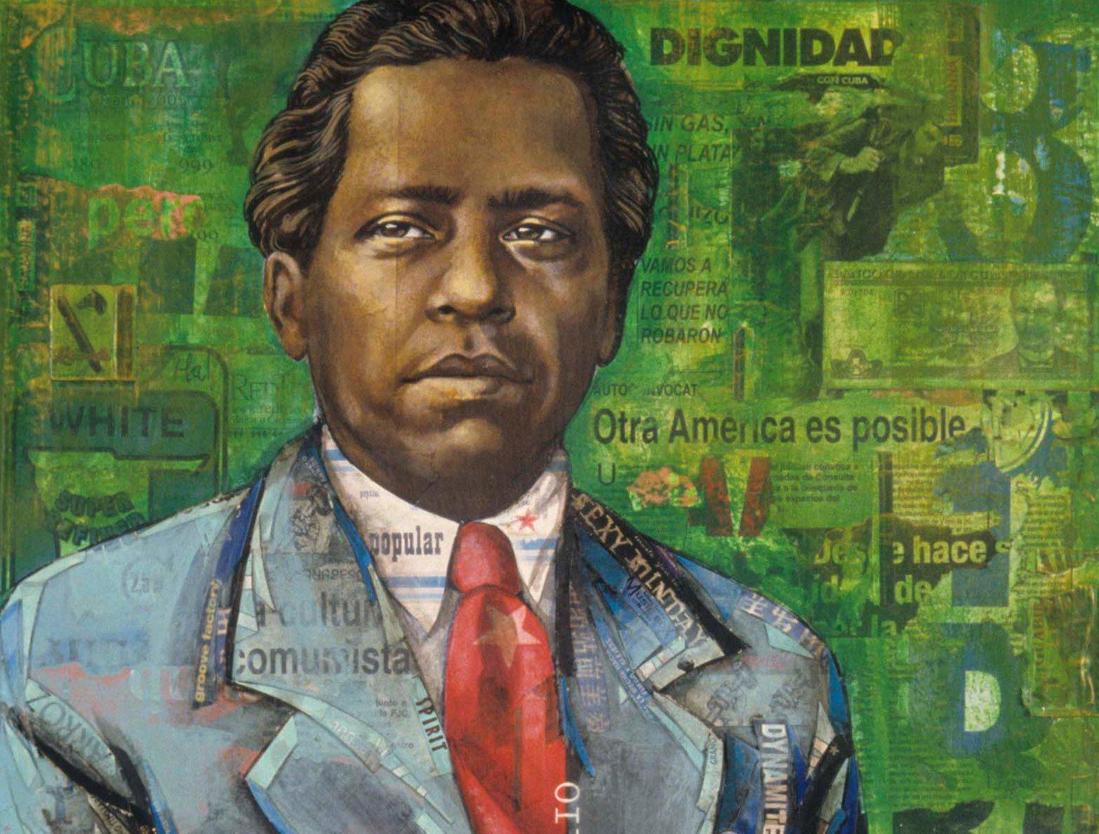 Mixed media portrait of Nicolás Guillén. © Erin Currier.