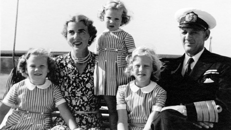King Fredric of Denmark and Queen Ingrid of Denmark with their beautiful girls: Princess Margrethe,         (future Queen Margrethe II of Denmark), Princess Anne and Princess Benedikte in 1950.