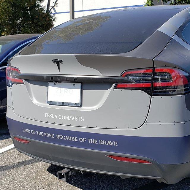 Very cool!  #Tesla #ModelX #Vet #veterans #teslaproud #teslalife #teslamotors #teslamodelx #teslacars #suv #electriccar #electriccars #luxurysuv #suvs #electricsuv