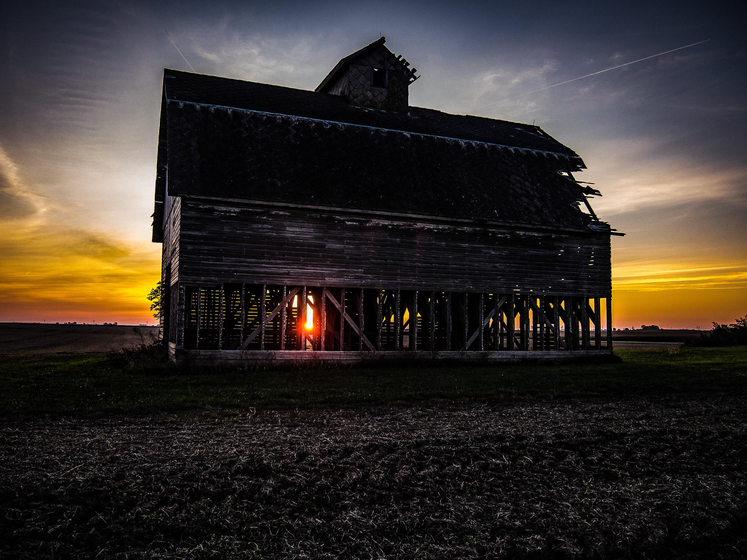Aged Barn At Sunrise