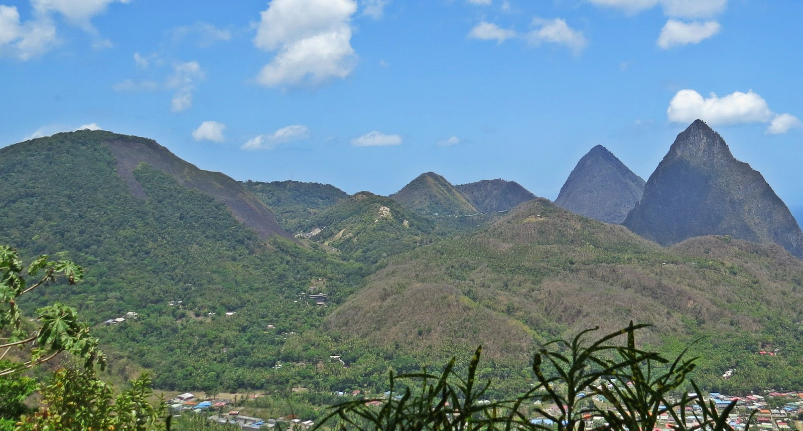 Qualibou, also known as the Soufrière Volcanic Centre (on the very left)