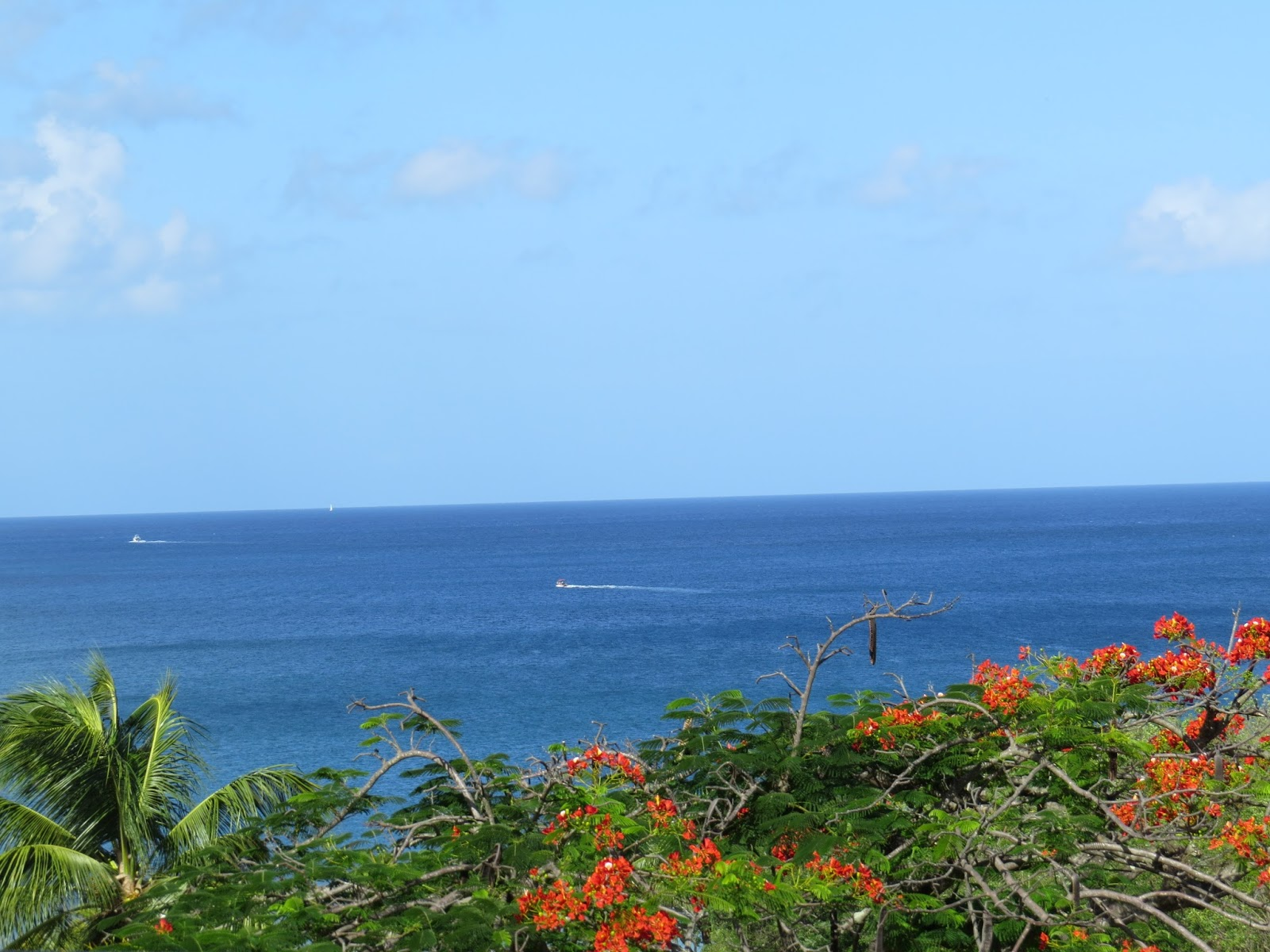 View from our hotel room of the Caribbean Sea