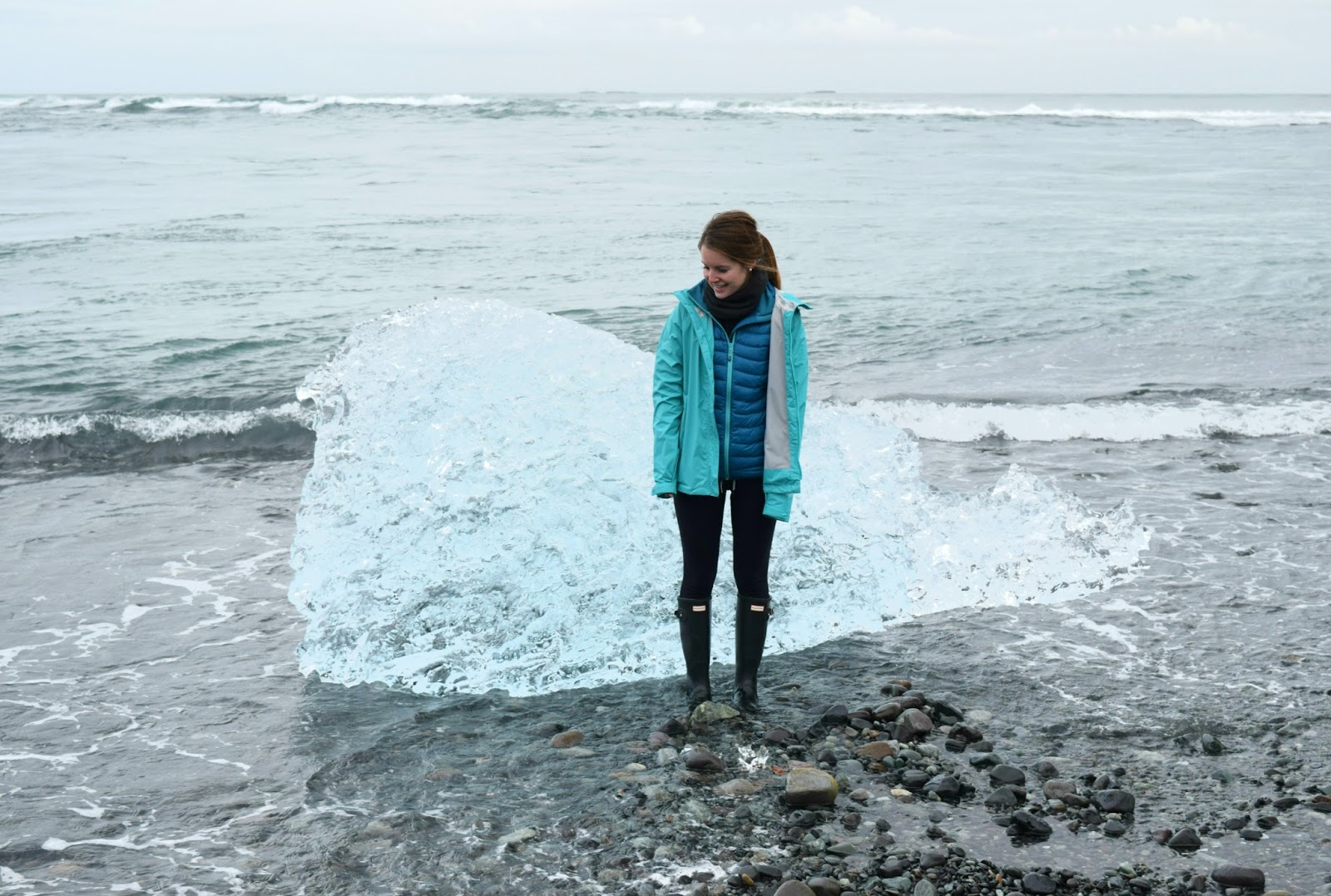 Me with a chunk of glacier from the Jökulsárlón Glacier. The chunks are falling off of Vatnajökull glacier, Europe's largest glacier.