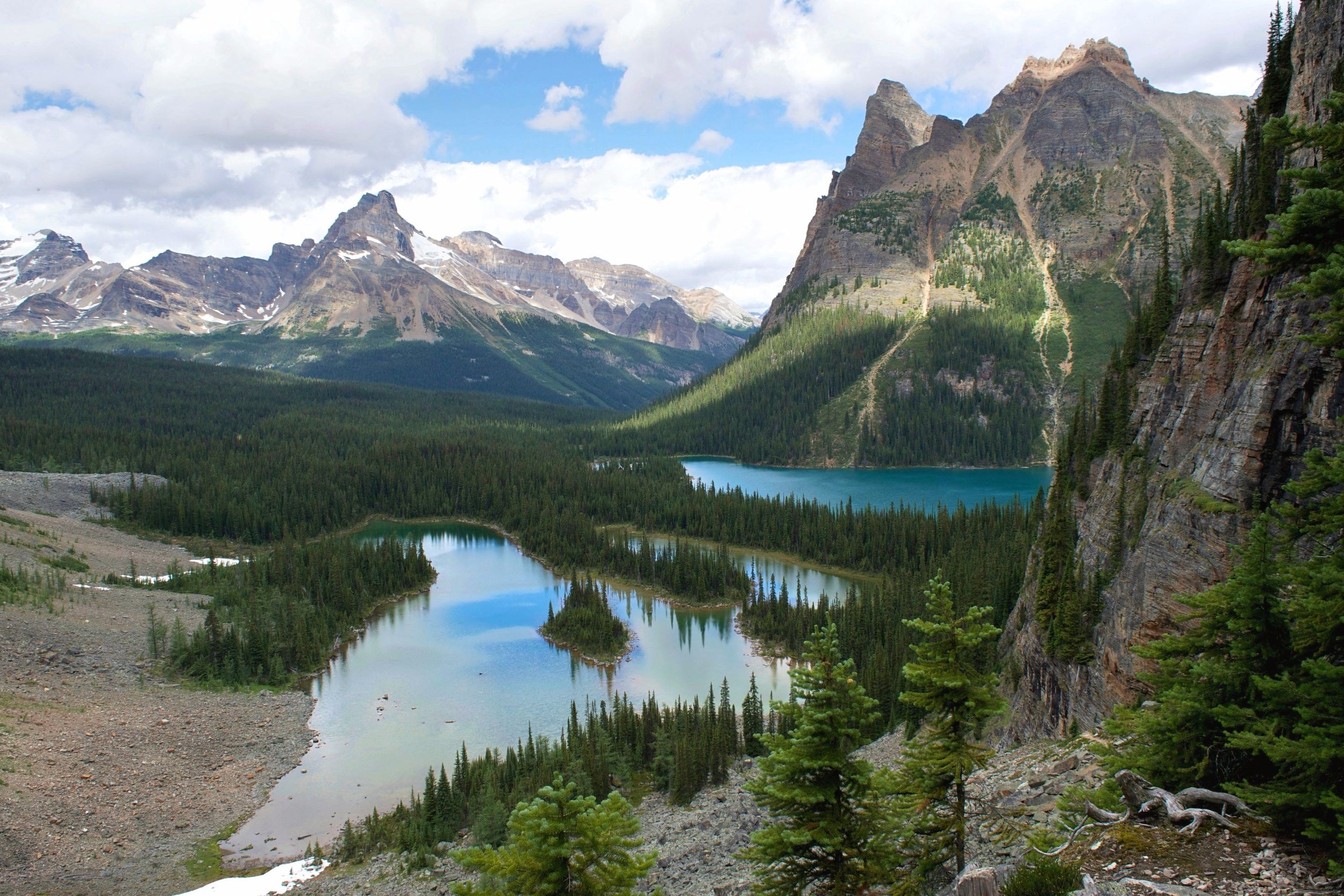 Mary Lake to the left and Lake O'Hara to the right from West Opabin trail