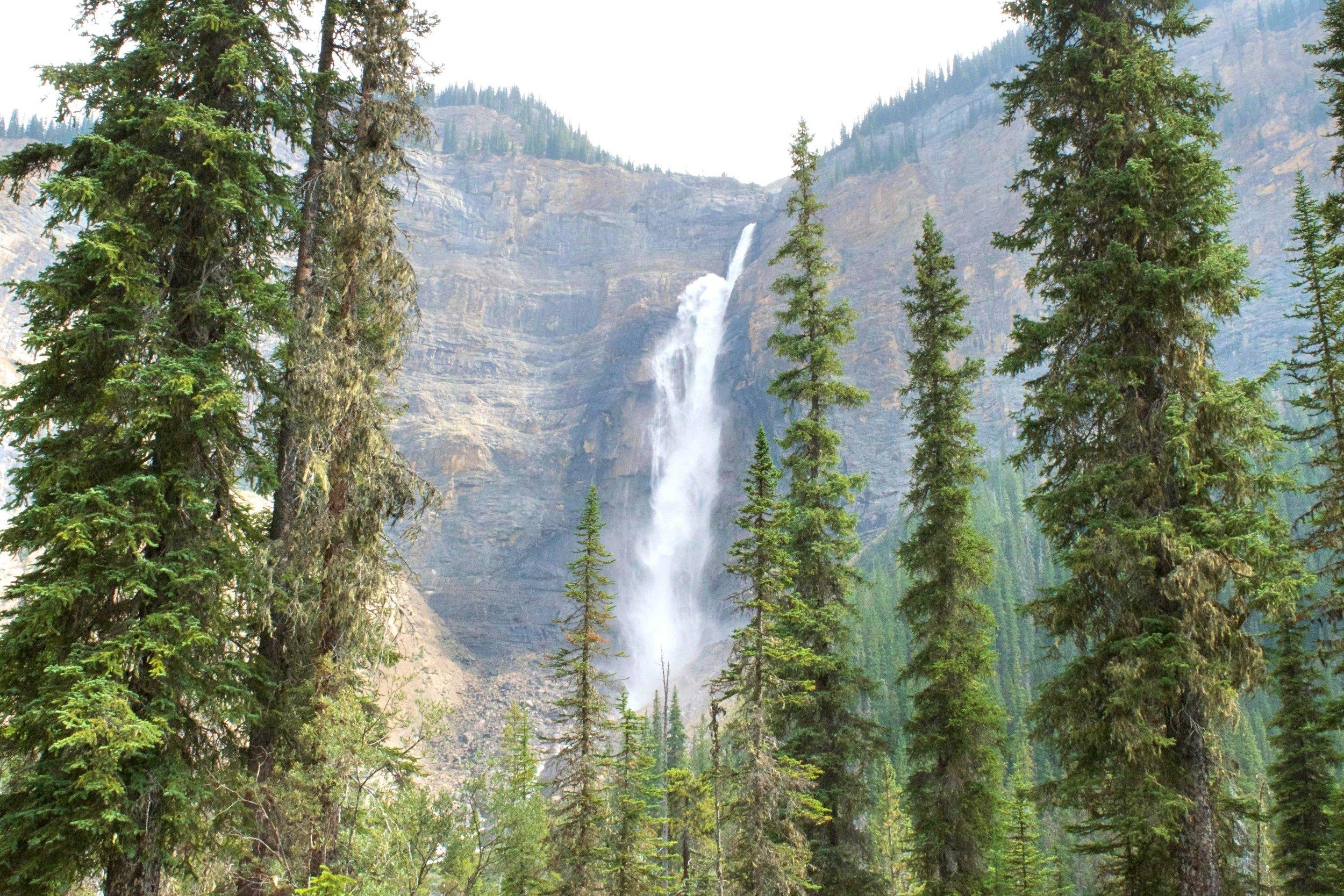 You start off by hiking past Takakkaw Falls