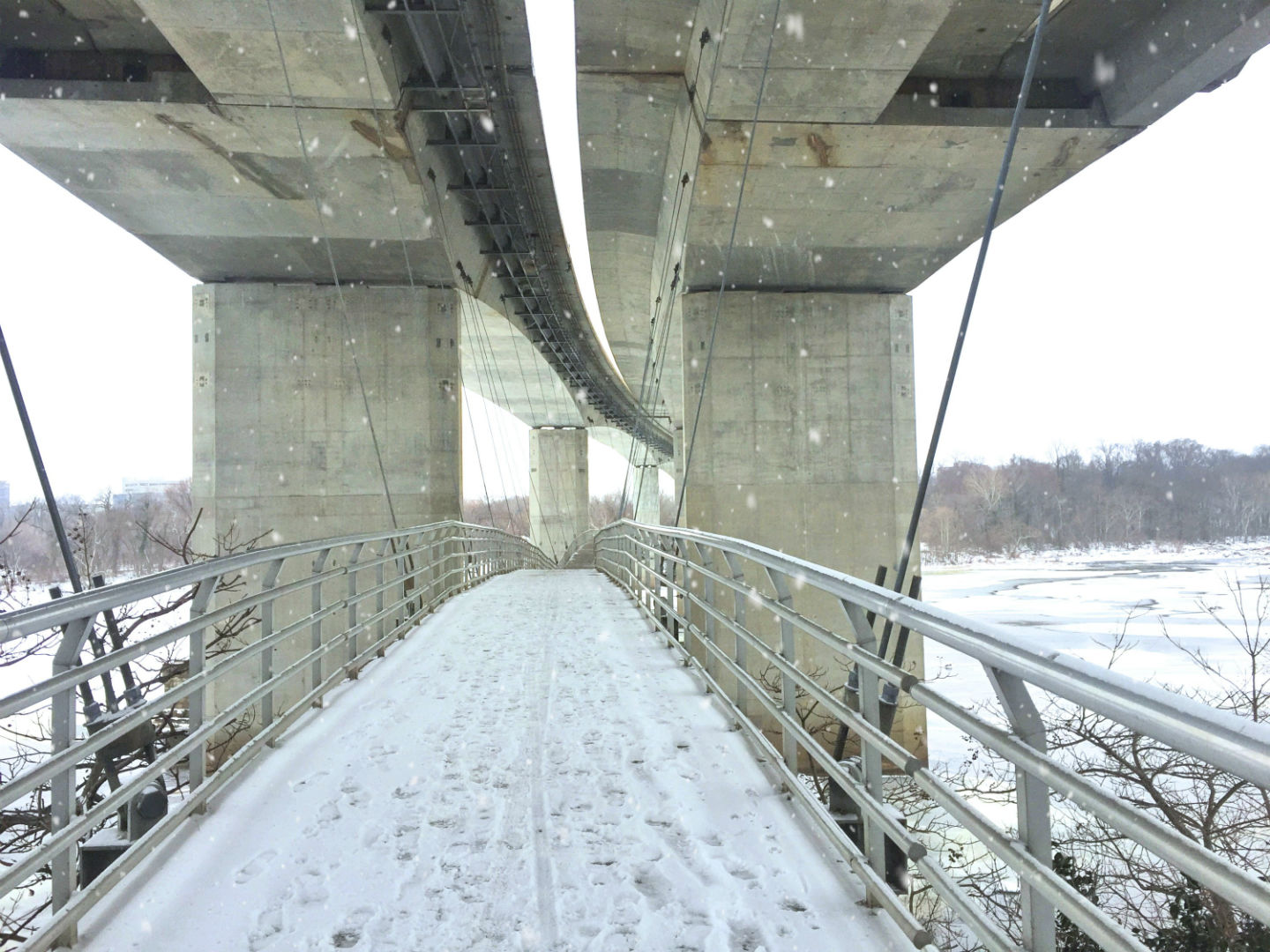 Bridge over to Belle Isle on a snowy day