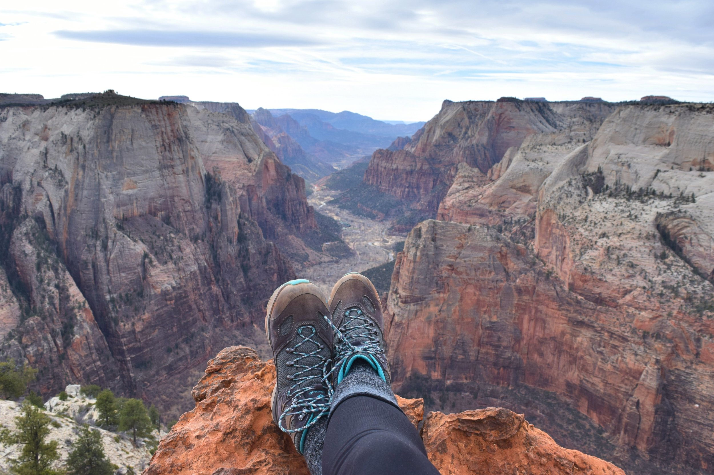 Angels Landing is right off my right foot in the picture.