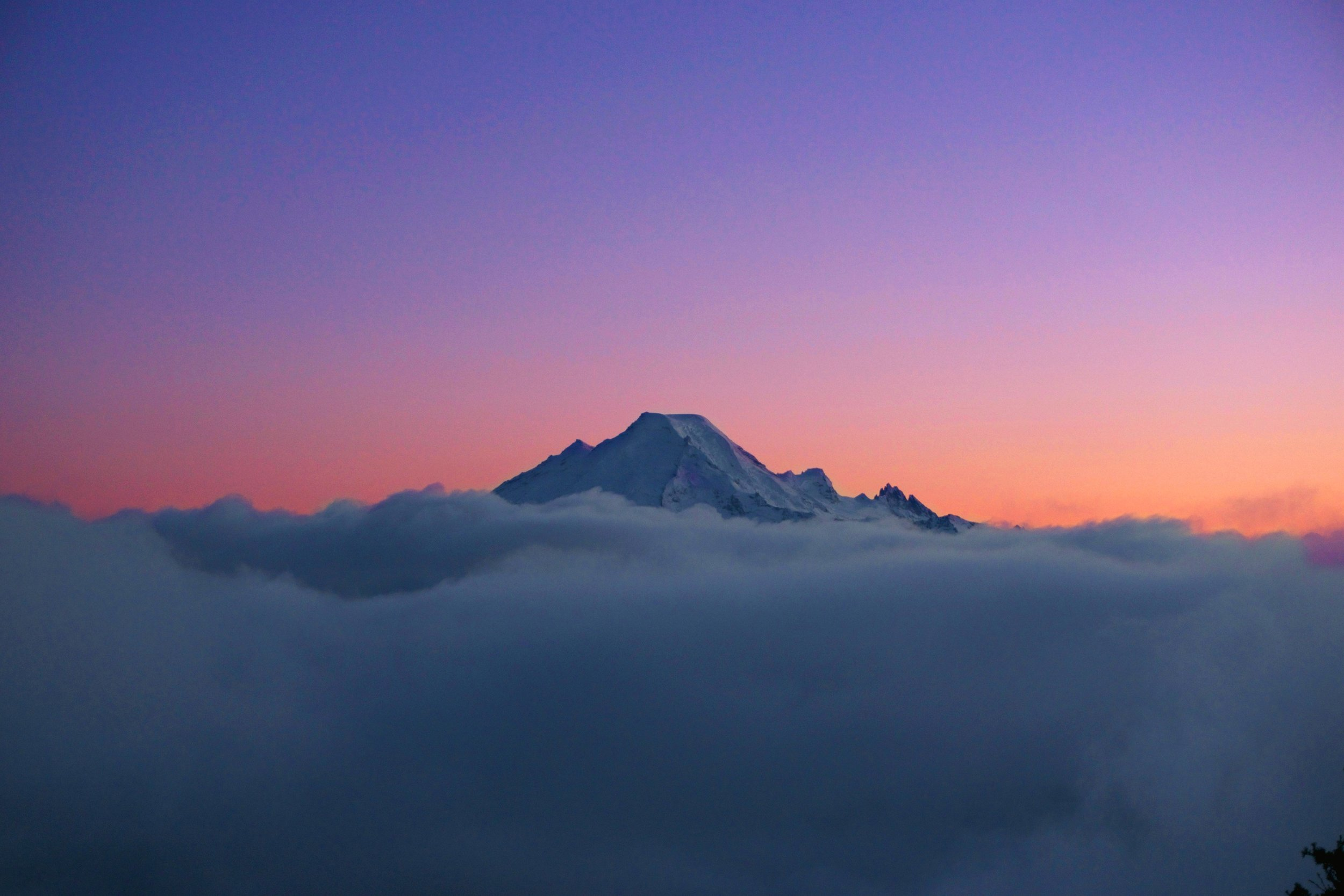 Mount Baker popping up over a sea of clouds.