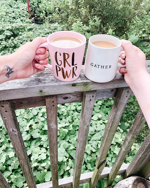 Morning coffee is wonderful. Morning coffee with your best friend is more fulfilling then words can describe☕️ miss you @thatpinkhairedmom 💕  What is your morning beverage of choice?