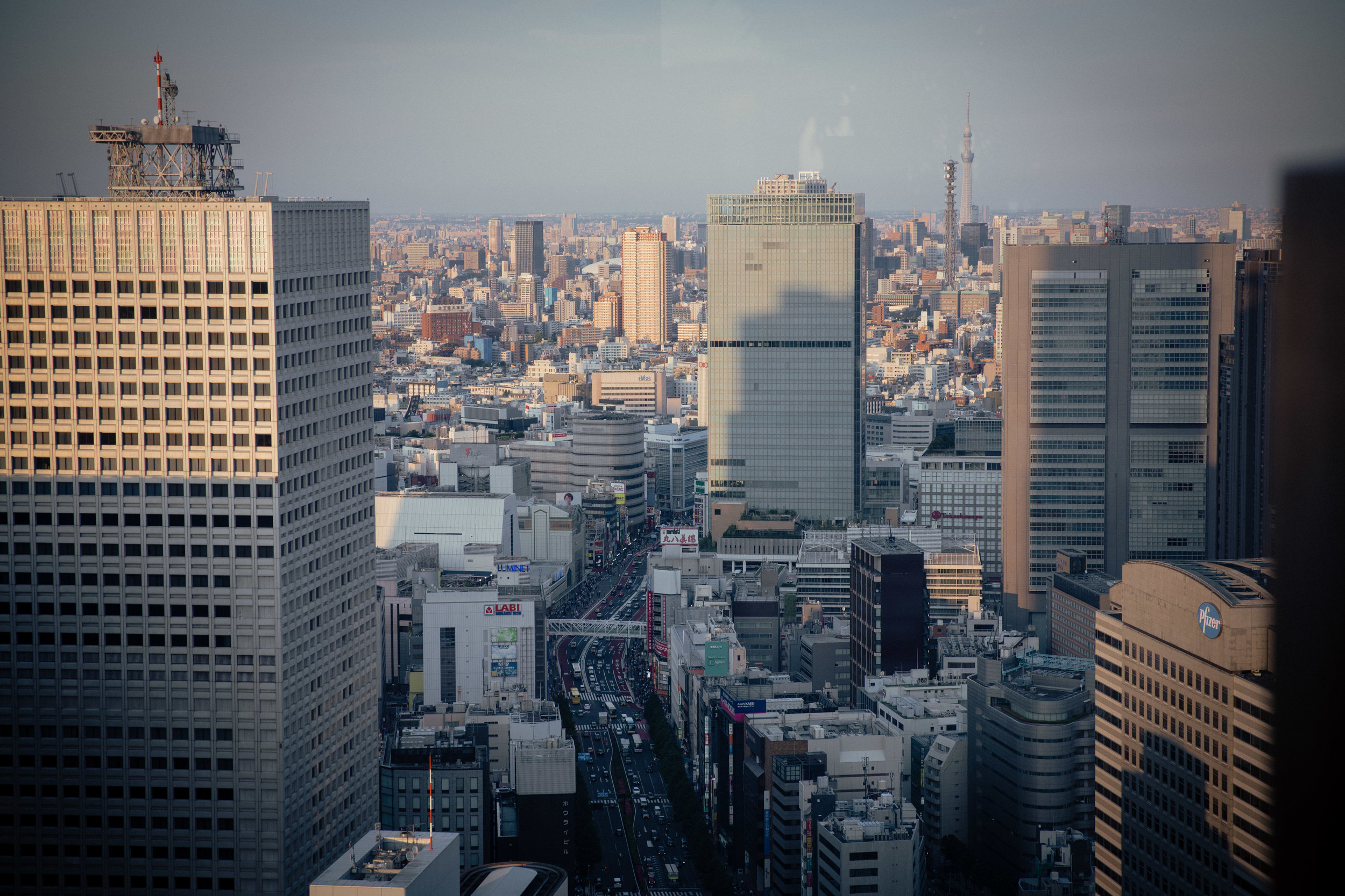 Bar with a view: looking east from a seat at the Peak Bar at the Park Hyatt in Shinjuku.