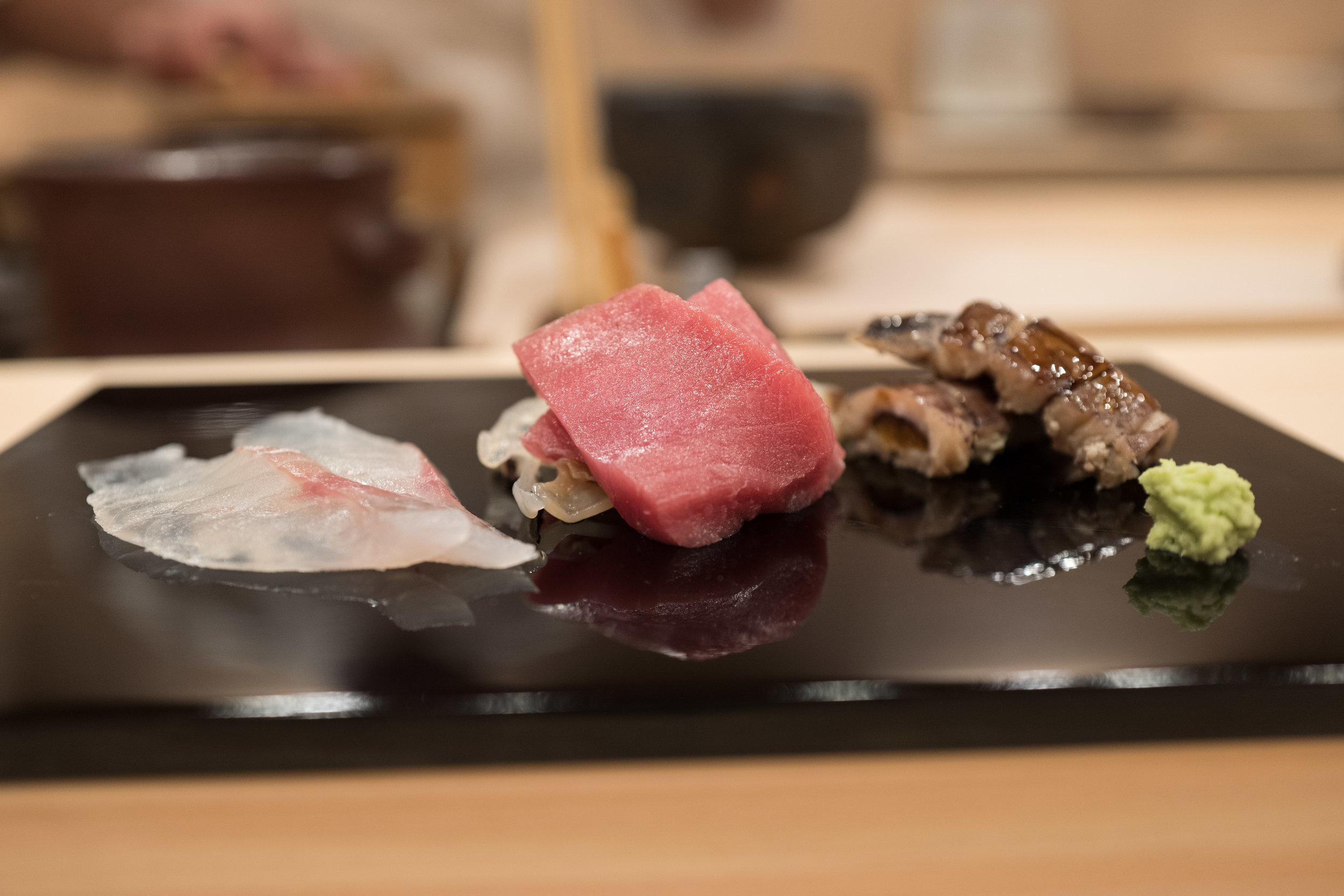 Off to a good start with the first otsumami plate. The shako (right) was particularly tasty.