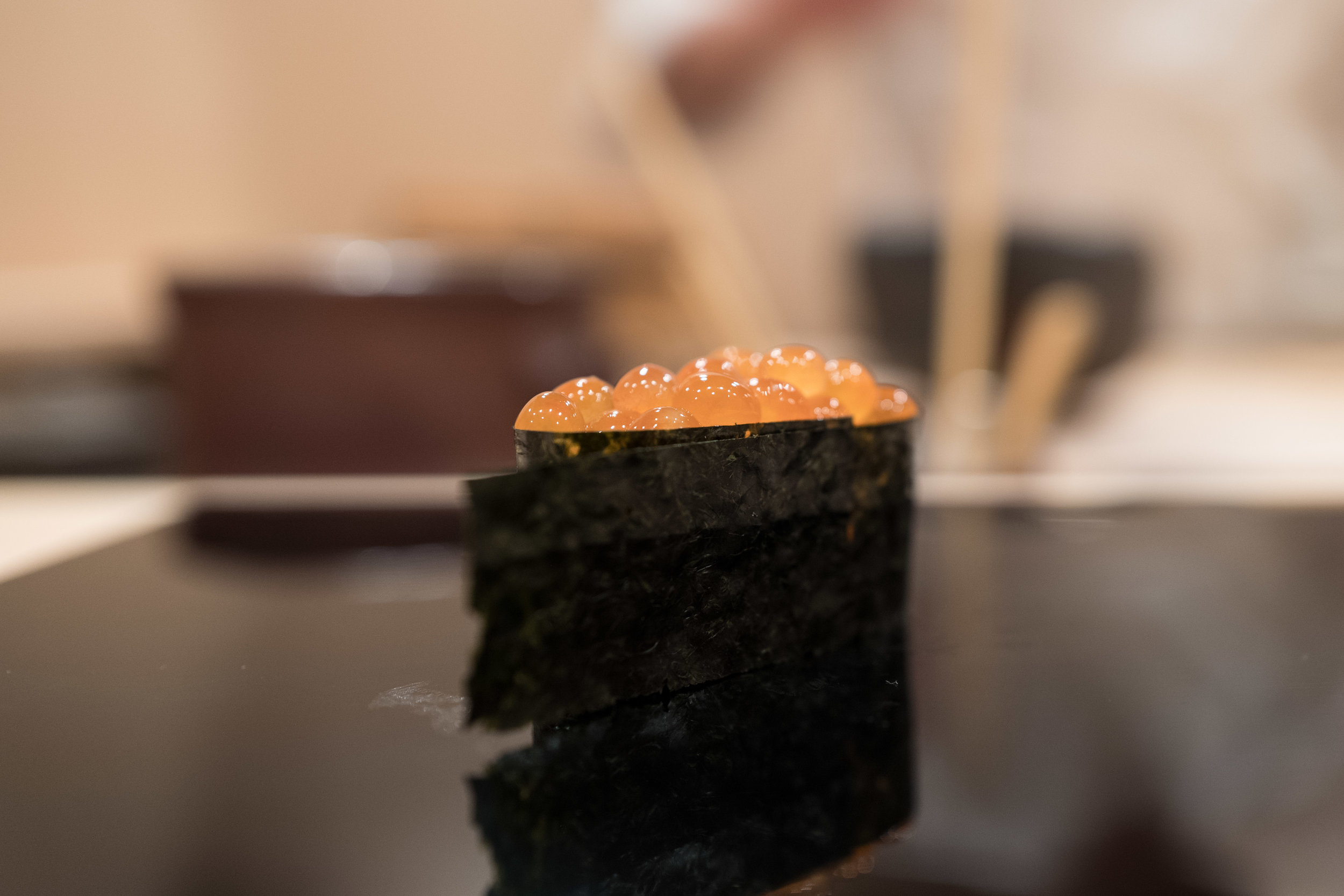 great ikura - balanced cure and crunchy, flavorful nori