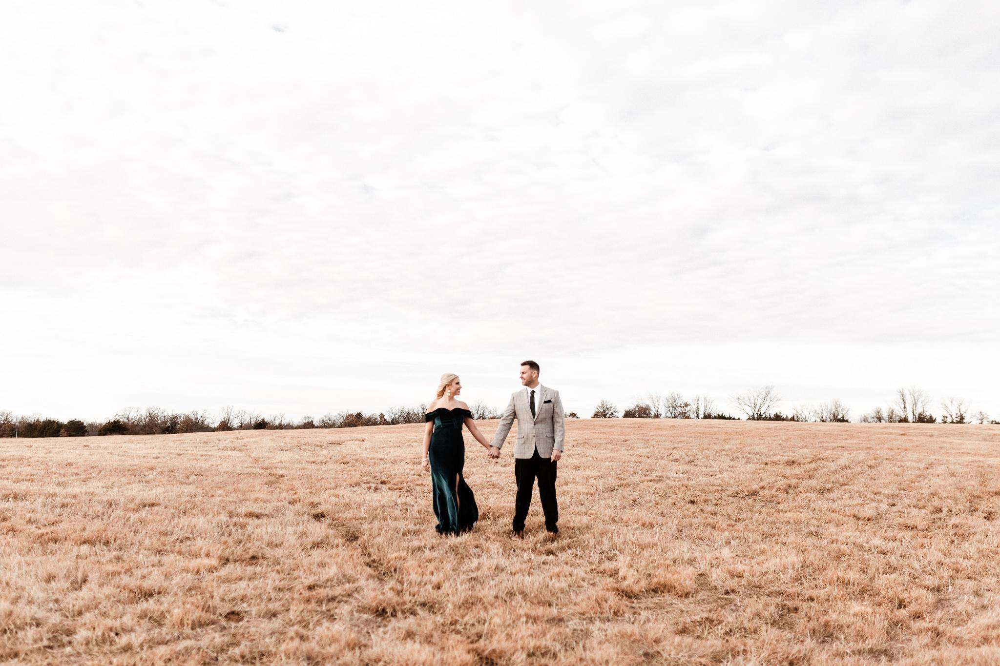 Wade + Stephanie | Warm Open Field Engagements | Oklahoma Wedding Photographer-2.jpg