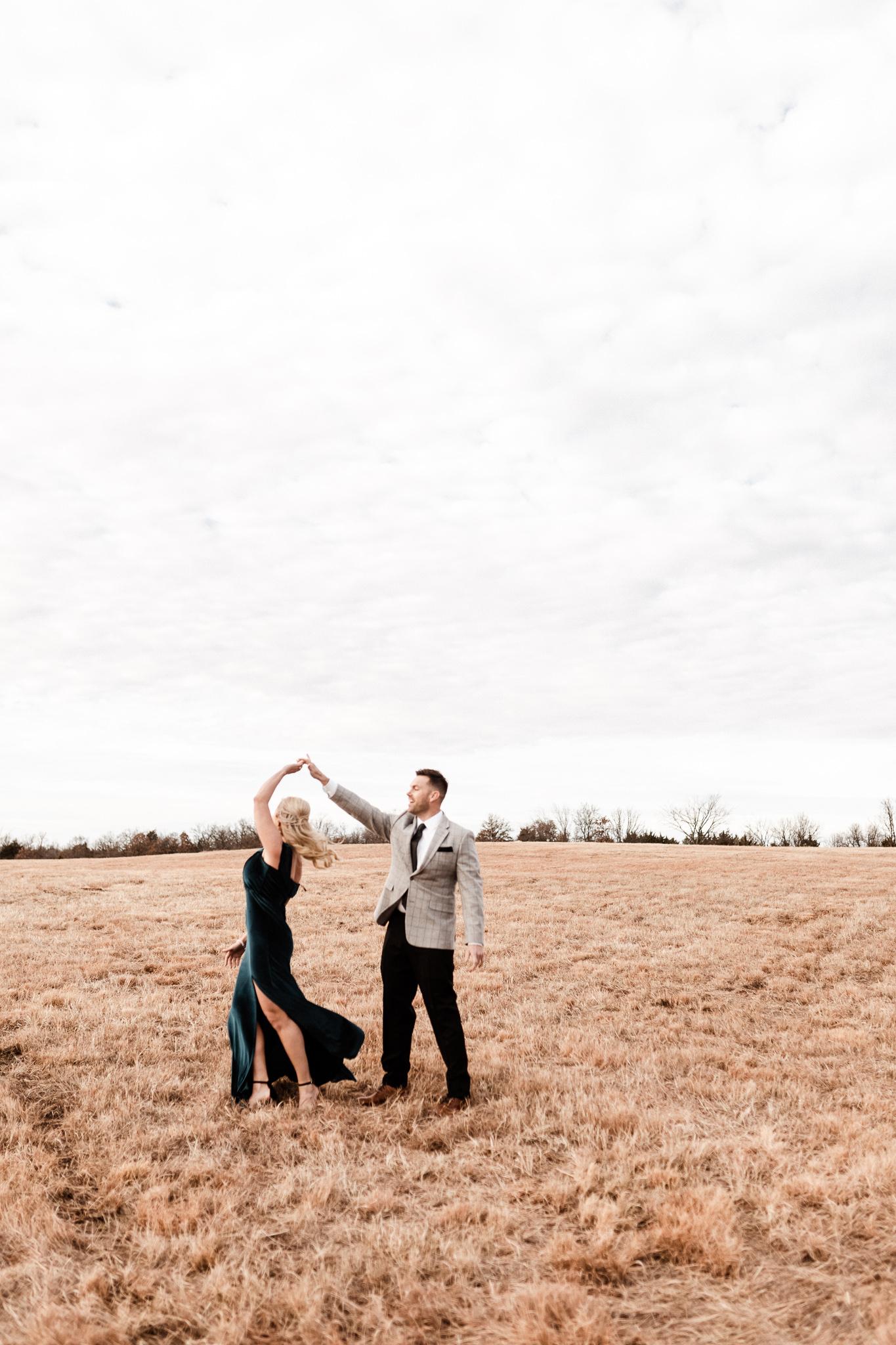 Wade + Stephanie | Warm Open Field Engagements | Oklahoma Wedding Photographer-3.jpg