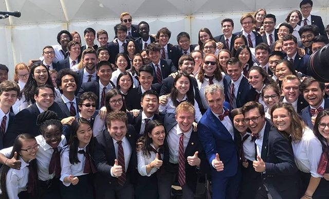 We met Bill Nye!! Come celebrate the seniors with the Glee Club and @cuchorus1920 tonight in Bailey Hall. Ticket link in bio.