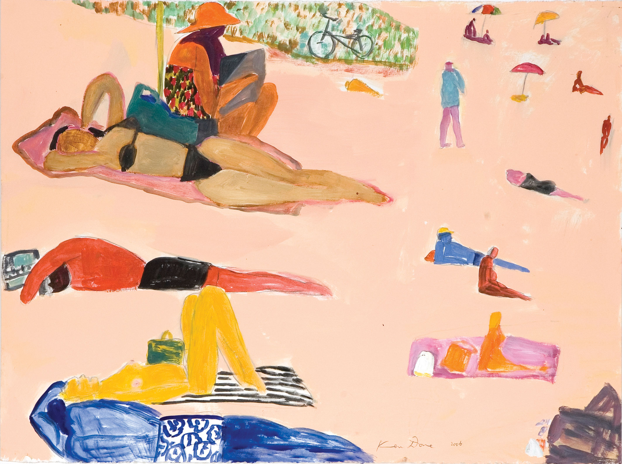 Beach with bike, 2006, oil & acrylic on paper, 56 x 76cm –  Image courtesy  Ken Done