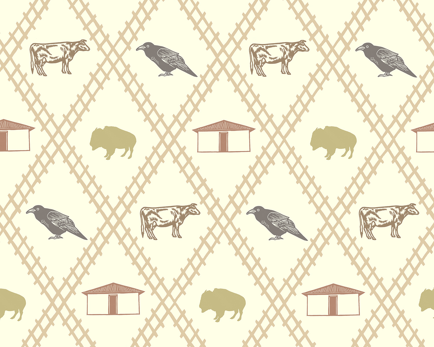 Wallpaper Pattern for Cuervo, New Mexico (detail)