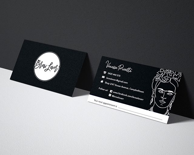 Business card design for Brow Lover salon @browloverr  #businesscard #branding #fridakahlo #blackandwhite #design #graphicdesign #business #graphic #logo #illustration #print #brow #browtattoo #salon #beauty