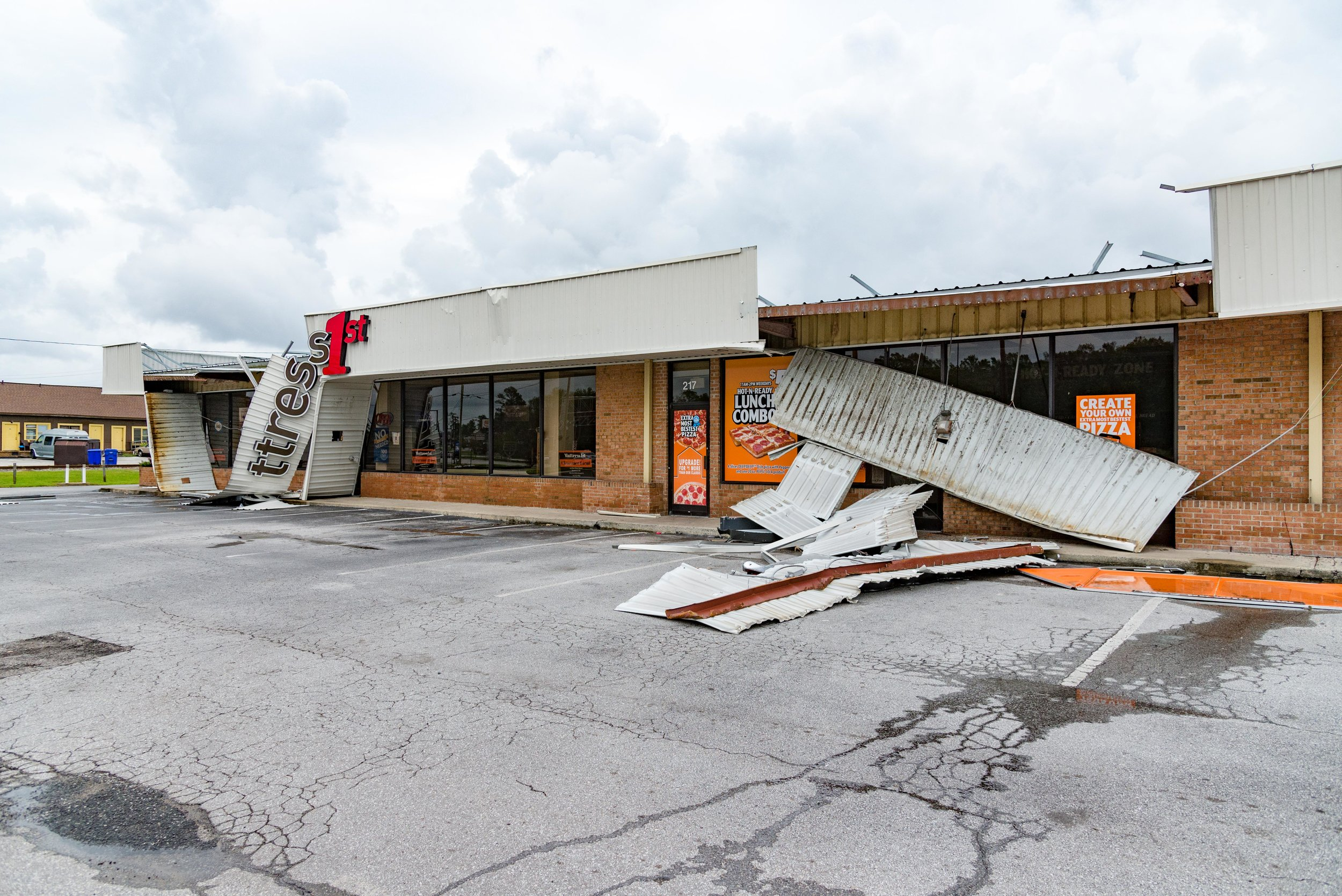September 16, 2018, Havelock, NC-  Buildings damaged during Hurricane Florence.