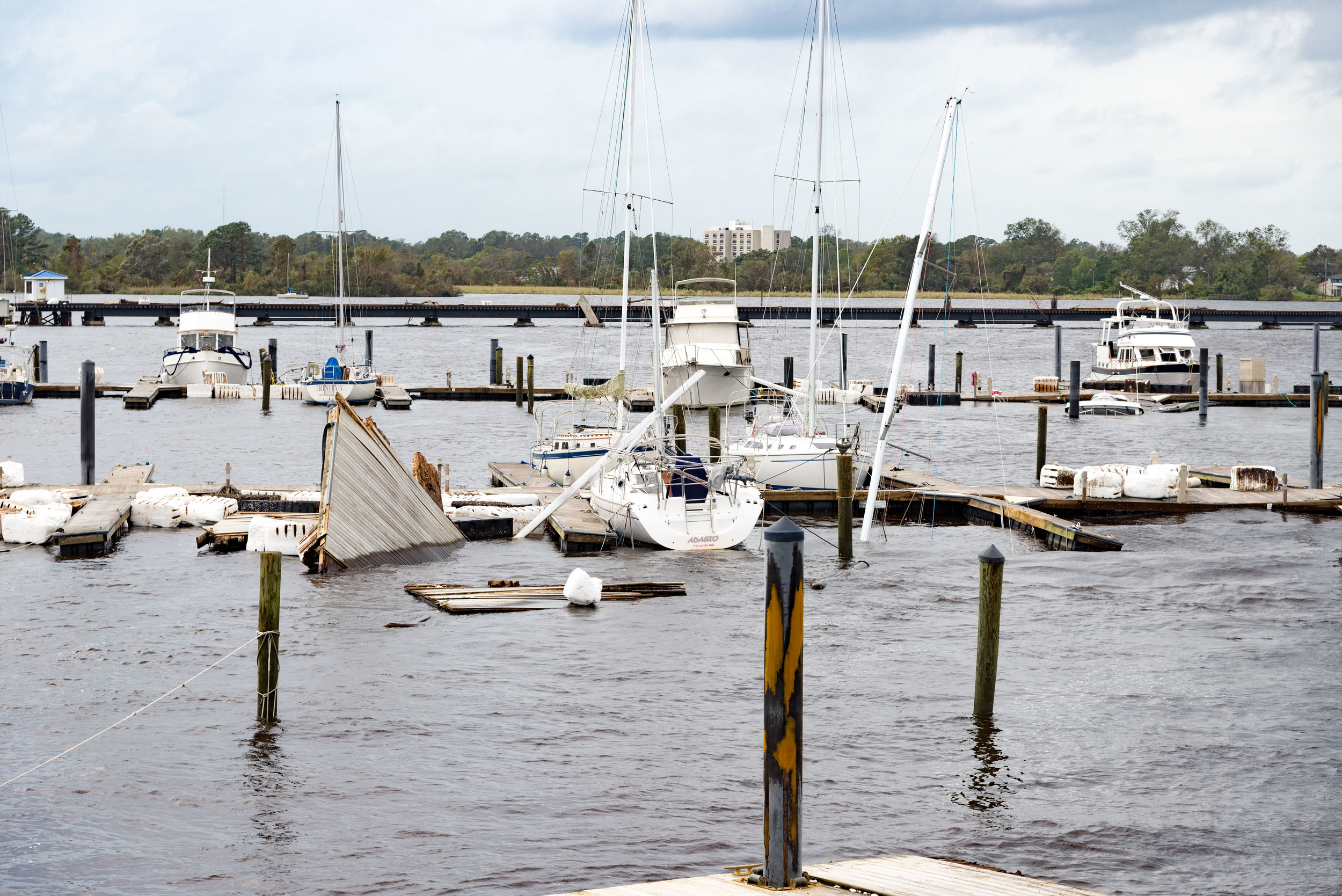 September 16, 2018, New Bern, NC-  Boats sunk at Bridgepointe Marina in the wake of Hurricane Florence.