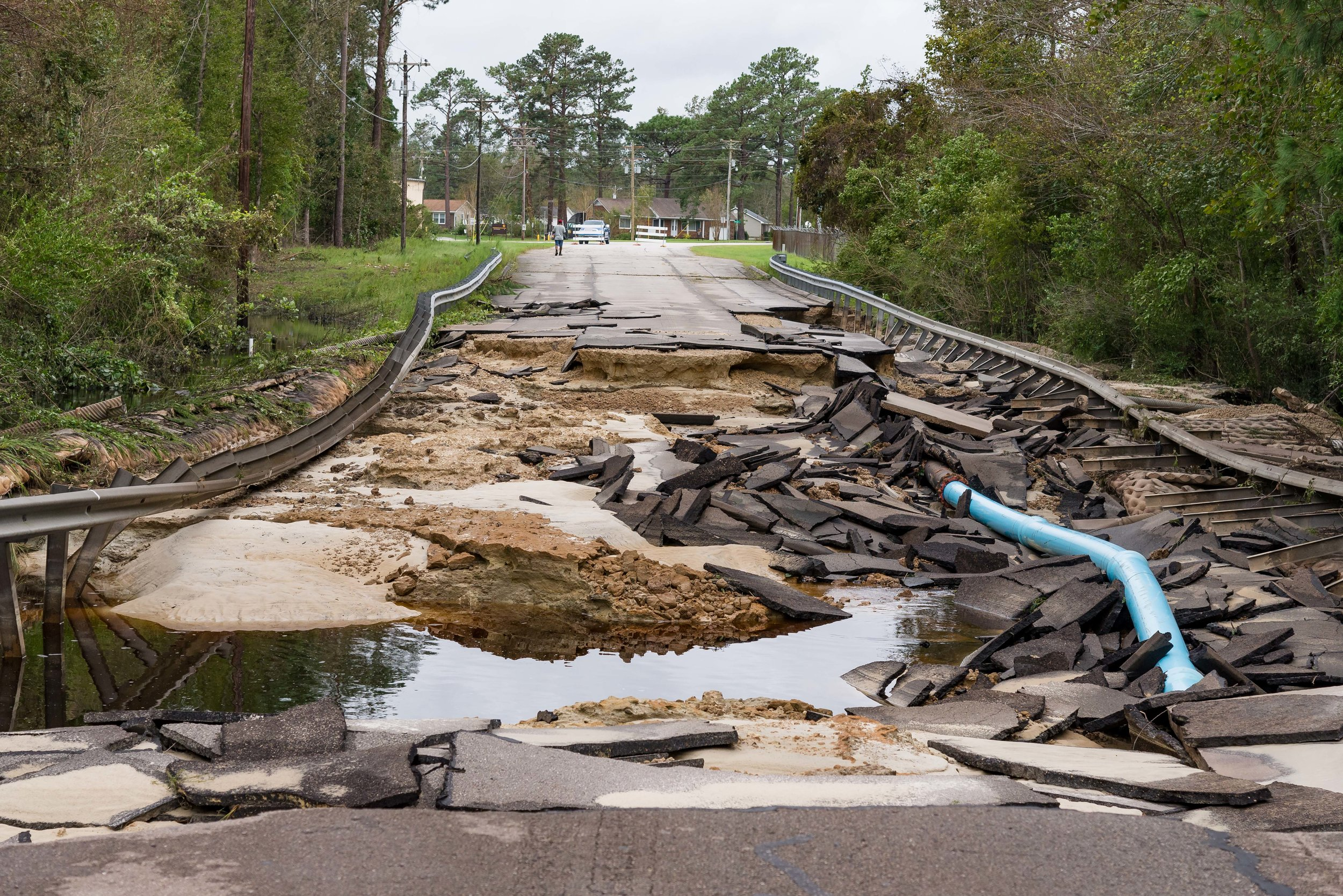 September 16, 2018, Havelock, NC-  Wood Haven Drive damaged during Hurricane Florence.