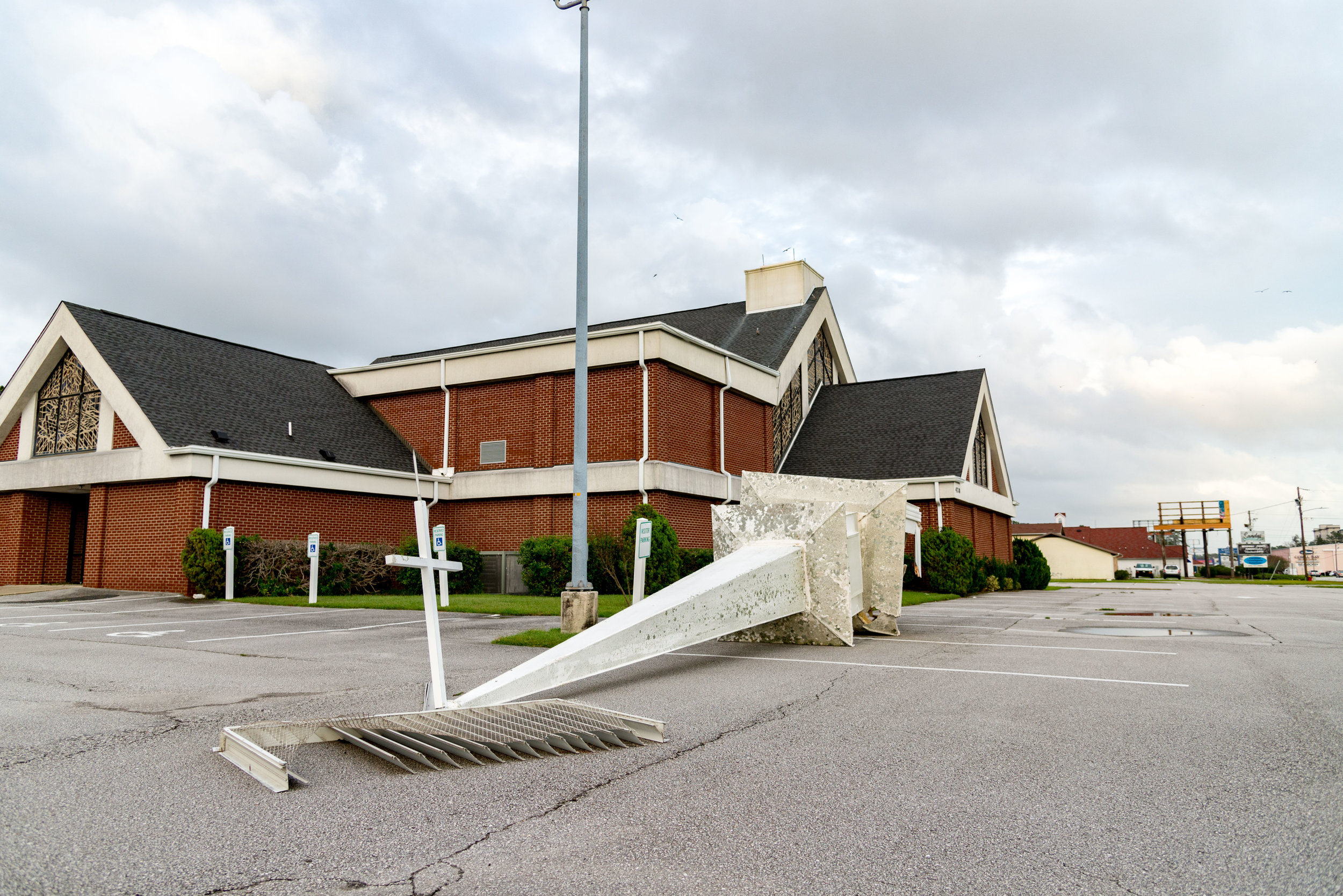 September 16, 2018, Morehead City, NC- The church steeple at Parkview Baptist Church fell during Hurricane Florence.