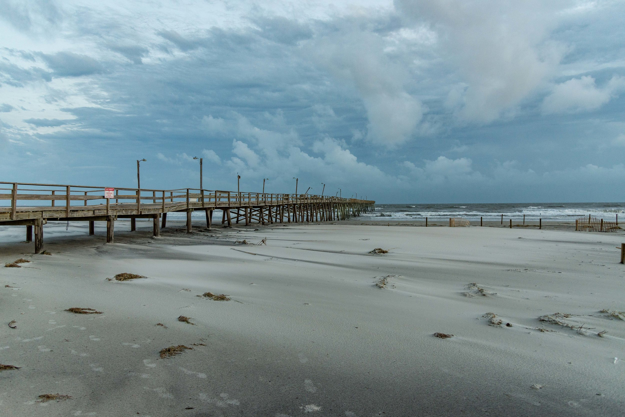 September 16, 2018, Atlantic Beach, NC- Oceanana Pier at Atlantic Beach suffers damage from Hurricane Florence.
