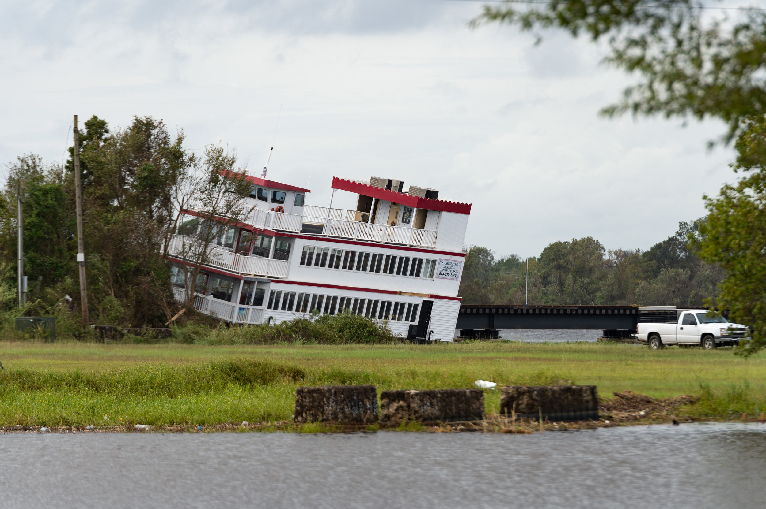 September 16, 2018, Pollocksville, NC- Damaged boats near New Bern.