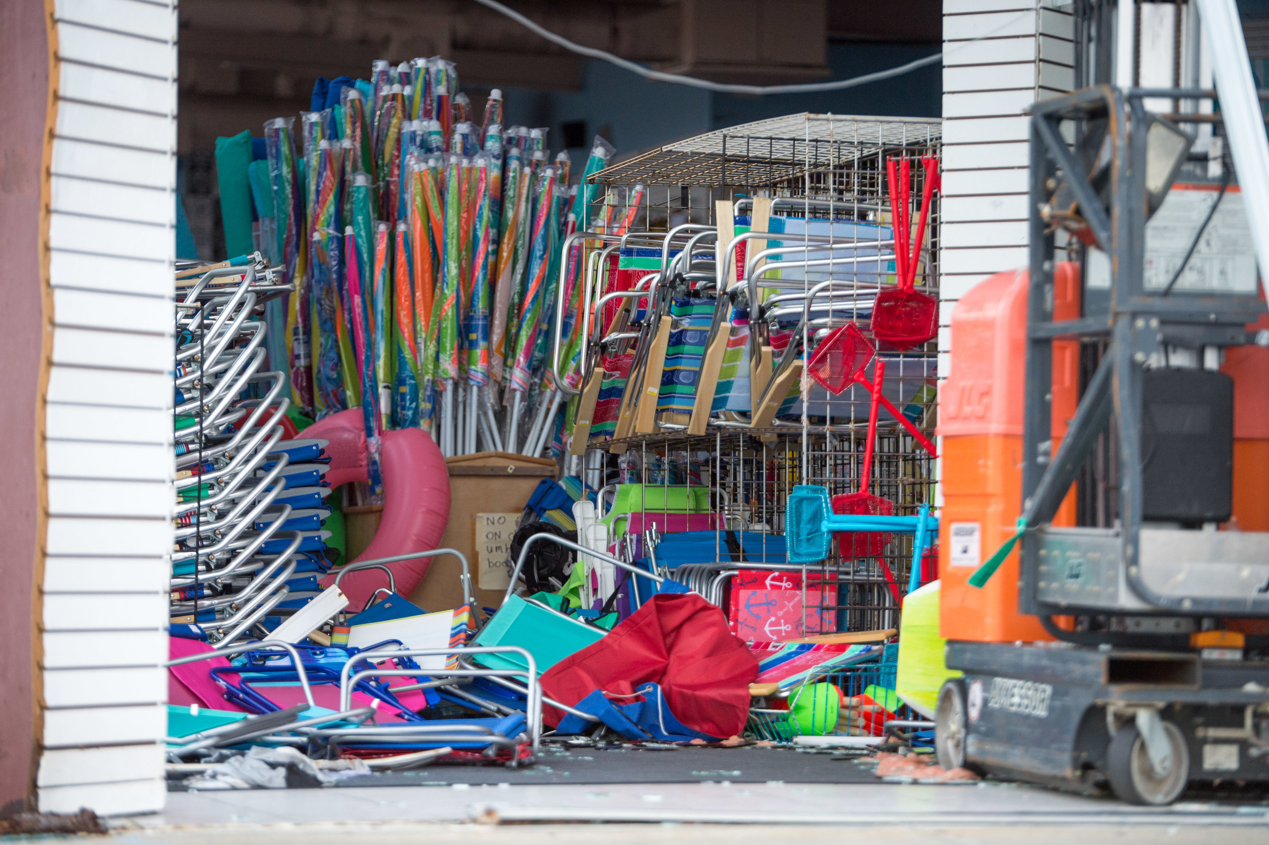 September 16, 2018, Atlantic Beach, NC- Pacific beach store is heavily damaged in the wake of Hurricane Florence.