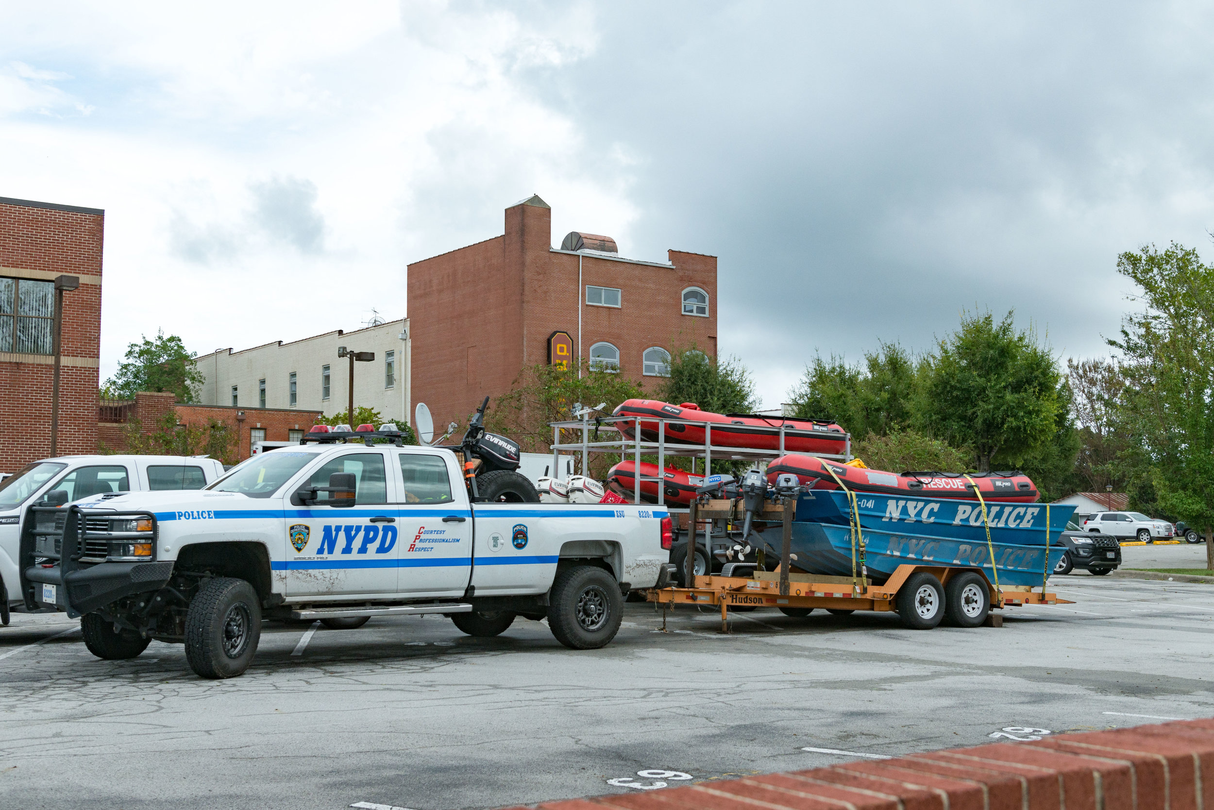 September 16, 2018, New Bern, NC-  New York City police boats are deployed as part of the Hurricane Florence response.