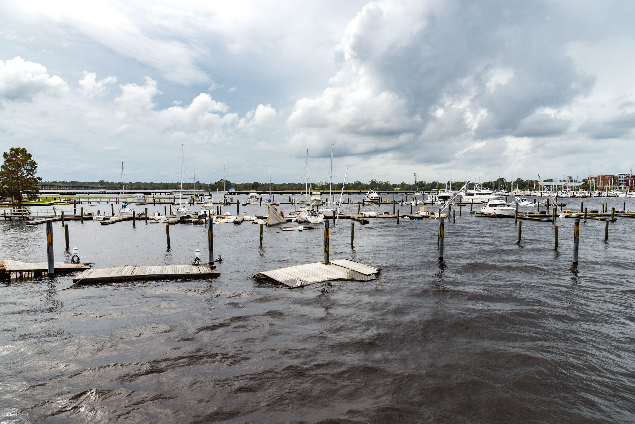 September 16, 2018, New Bern, NC-  Boats found sunk at Bridgepointe Marina in the wake of Hurricane Florence.