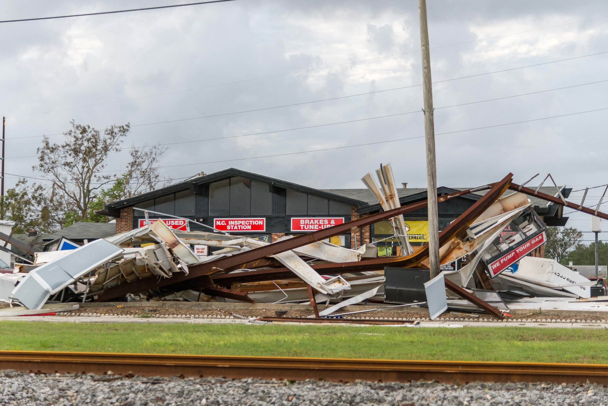 September 16, 2018, NC- Building damage in North Carolina in the aftermath of Hurricane Florence.