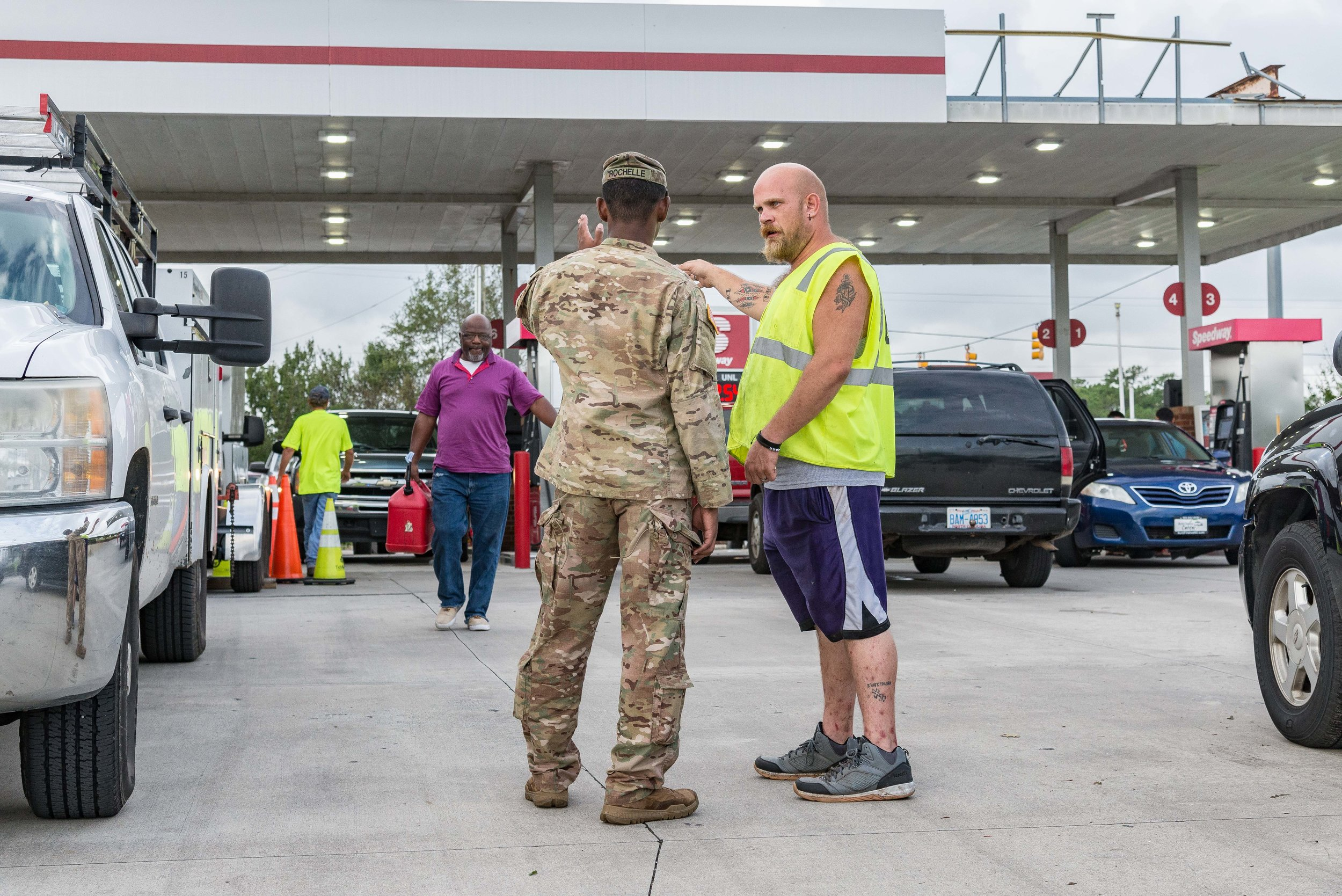 September 16, 2018, Newport, NC- Local and US Military police were on guard and organizing distribution of fuel at Speedway fueling station on US-70 at Roberts Rd.