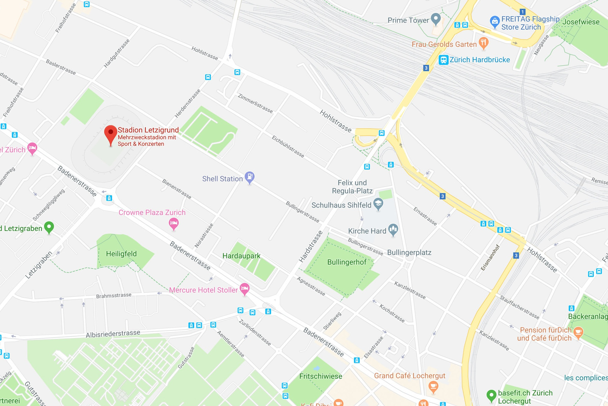 Lageplan Stadion Letzigrund