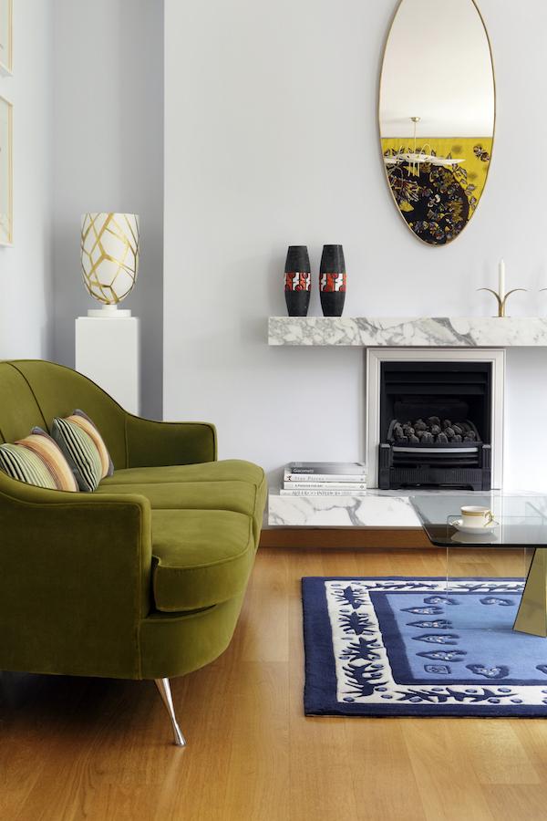 Green velvet sofas covered in fabric from Brian S Nolan