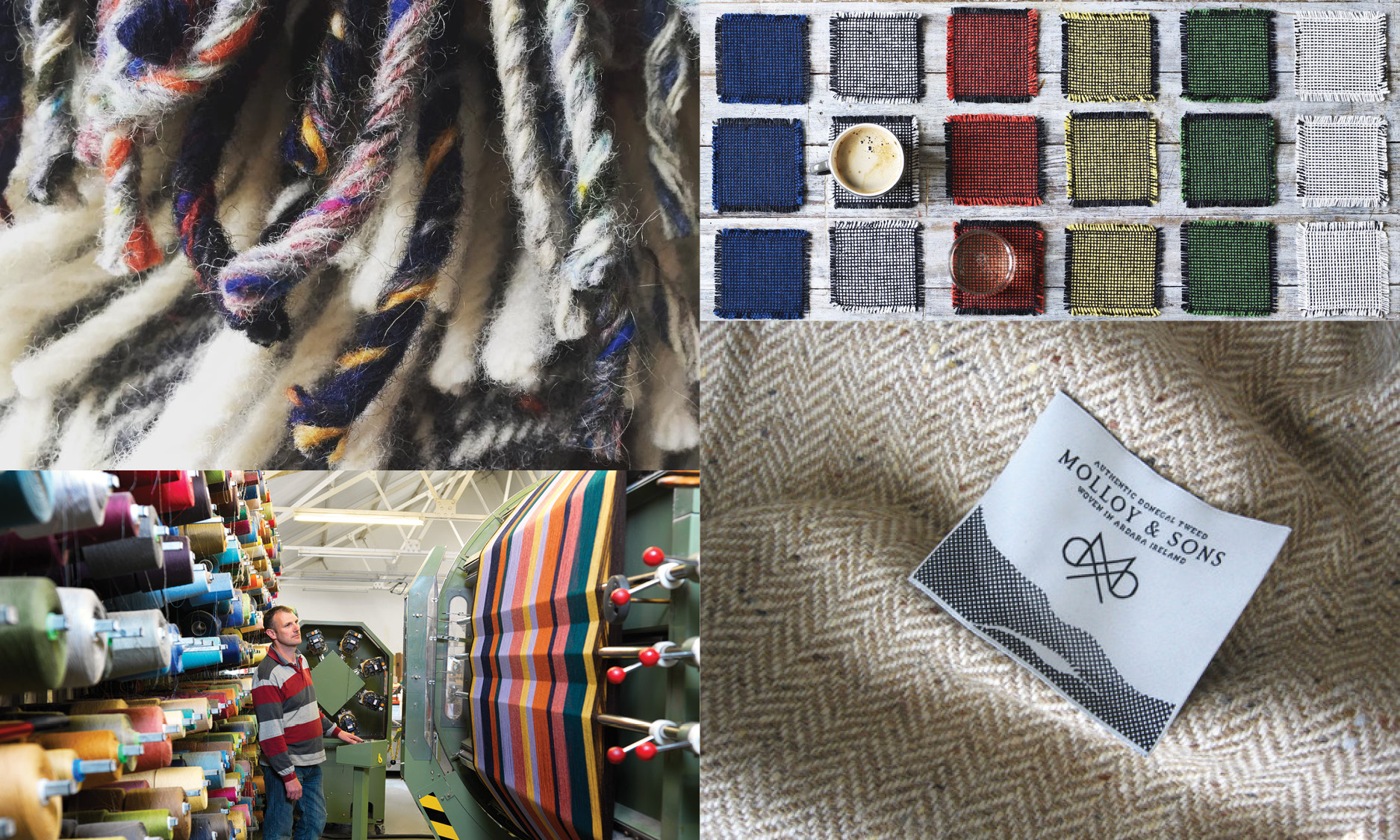 Clockwise from top left: Stable, Mourne Textiles, Molloy & Sons, McNutt