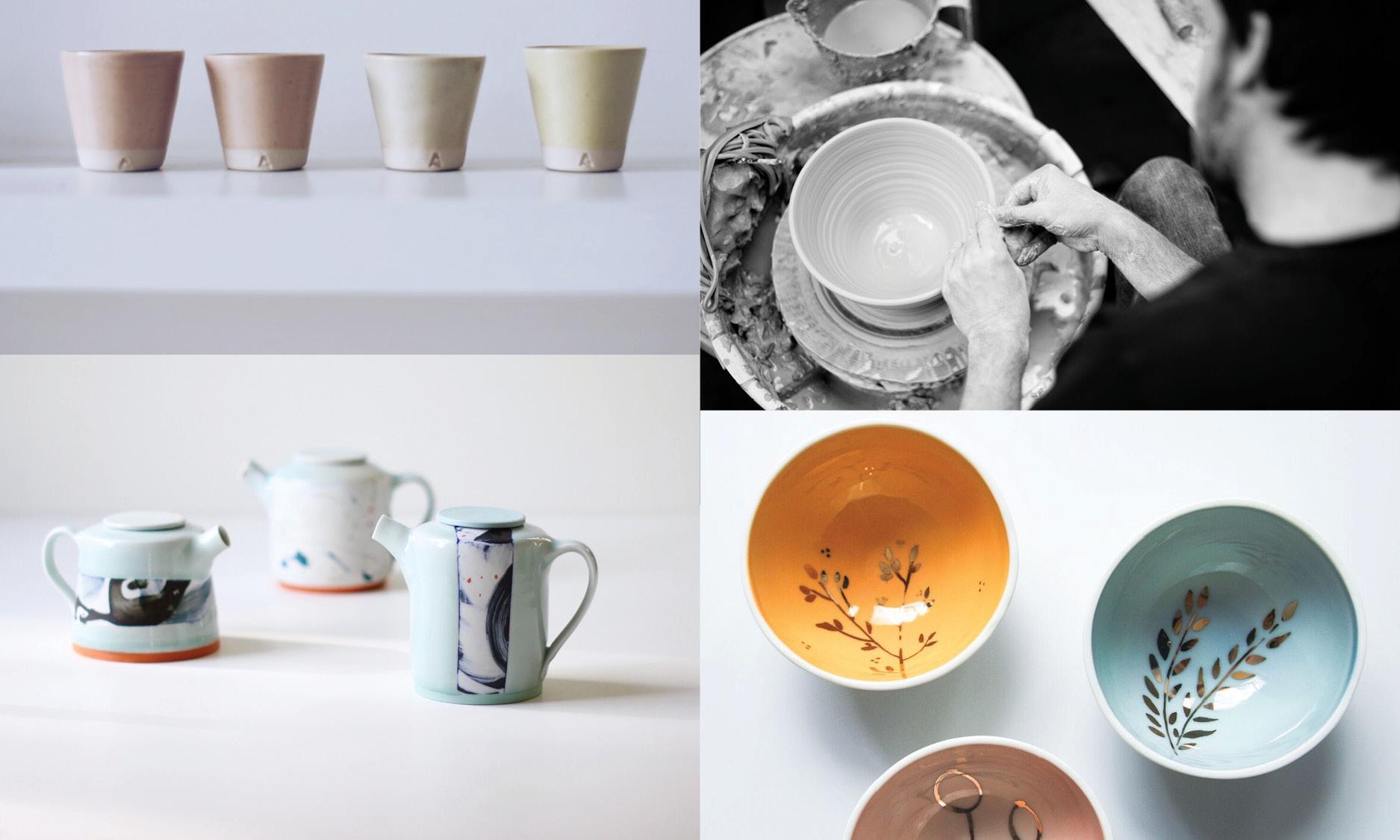 Clockwise from top left: Arran Street East, Diem Pottery, KaroArt,Adam Frew Ceramics.