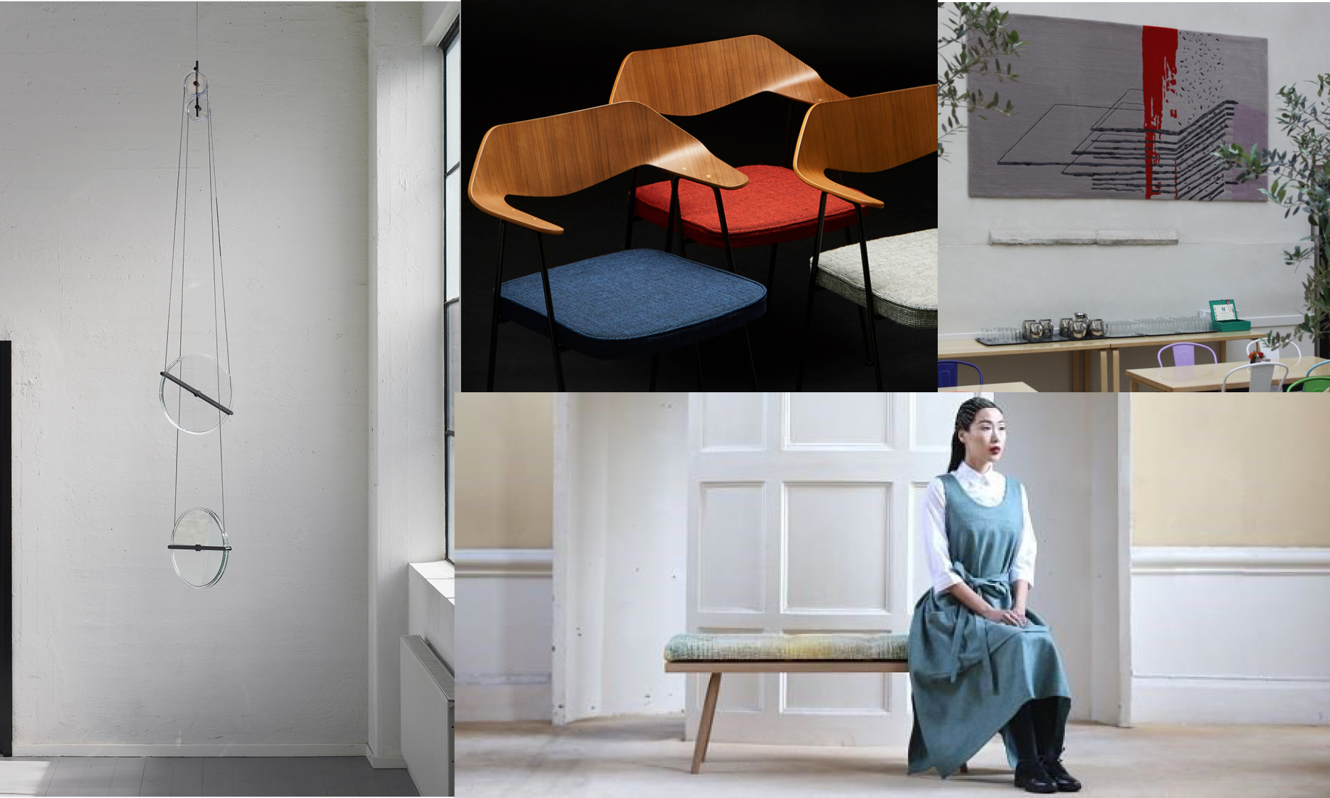 Clockwise from top left: J Hill Standard x Daniel Rybakken Secant Collection, Mourne Textiles x Robin Day 675 Chair for Conran Shop, Ceadogán Rugs x NCAD and Norin O'Brien, Cooper Handmade Furniture x Wild Cocoon.