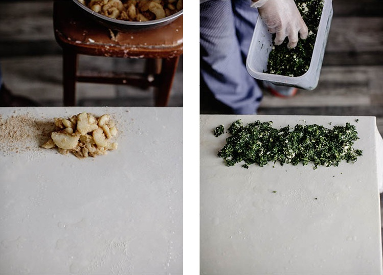 Once the dough covers the table, they had their fillings: in this case half apple and cinnamon, half spinach and feta.