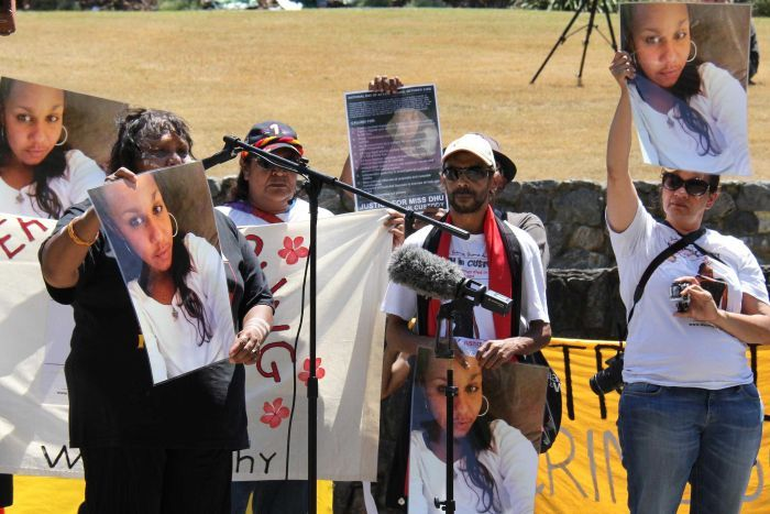 Protestors hold images of Ms Dhu, who died in a WA watch house in 2014, after being detained for unpaid fines. Stories like this were the primary drive behind the 'FreethePeople' crowdfunding campaign. Source:  ABC