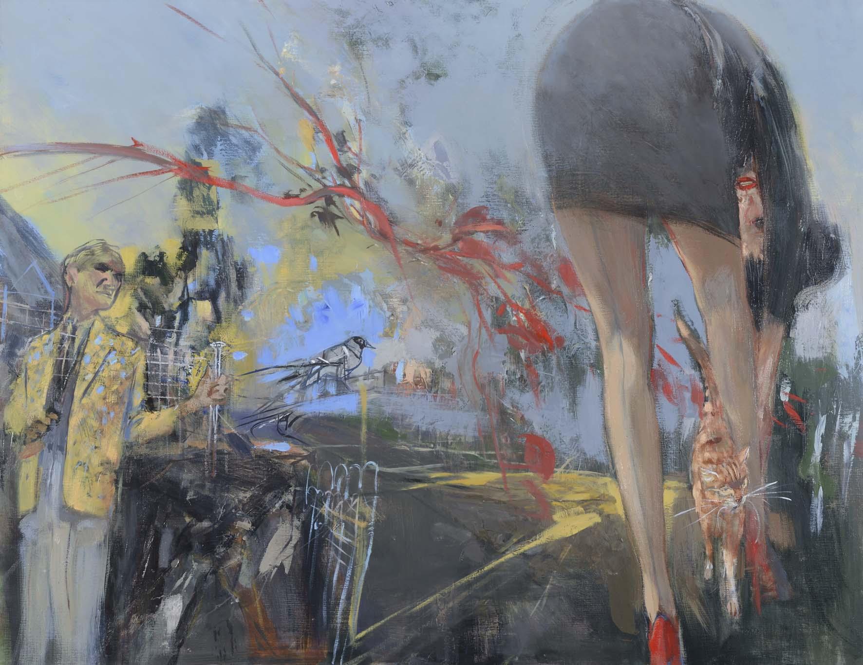 Calin félin      - huile sur toile - 130x100 cm-