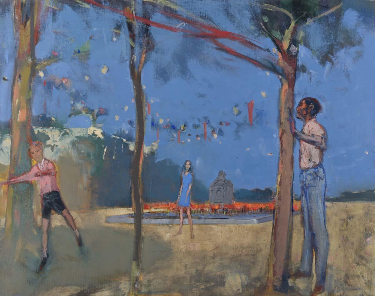 Le parc  Huile sur toile - 100 x 75 cm