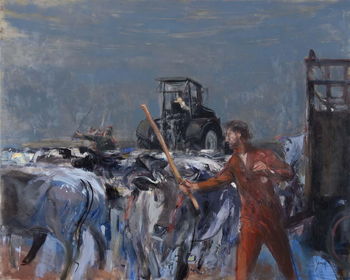 Le troupeau       Huile sur toile 190 x 160 cm