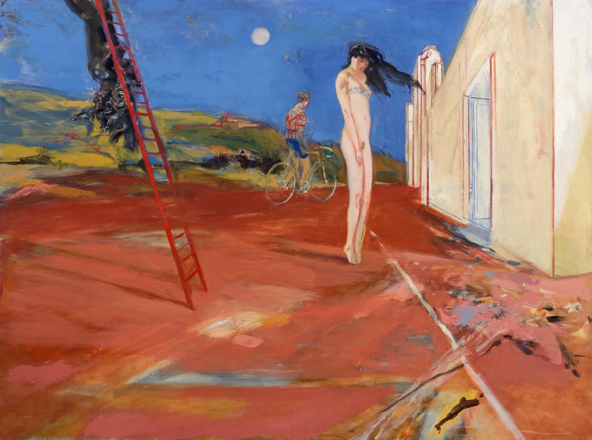 L'échelle rouge    Huile sur toile - 160x120 cm