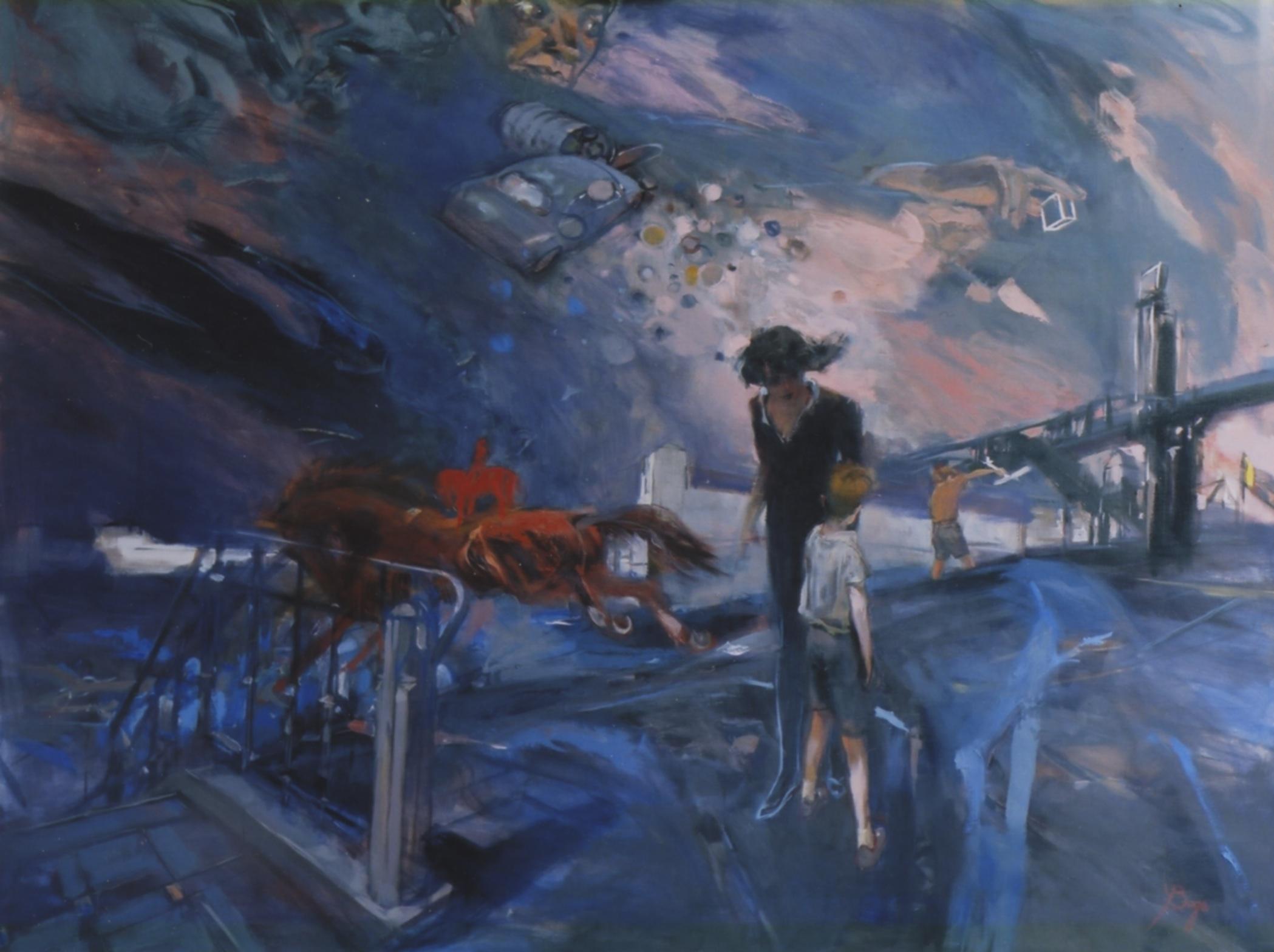 Le cavalier rouge    huile sur toile - 190x160 cm